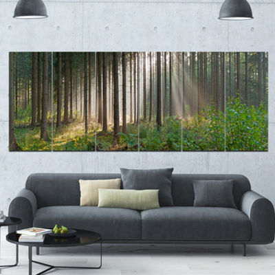 Designart Green Forest In Mist Panorama LandscapeCanvas Art Print - 6 Panels