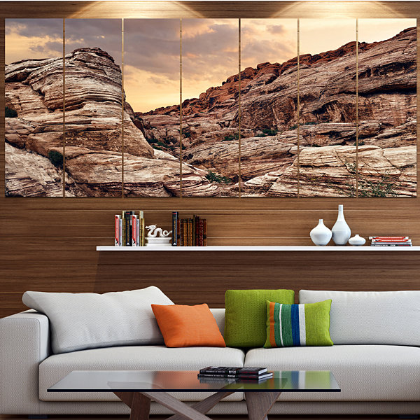 Designart Scenic Red Rock Canyon In Nevada Landscape Large Canvas Art Print - 5 Panels