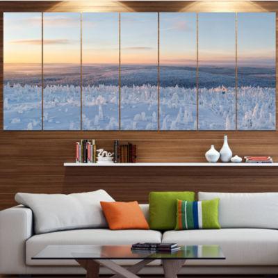 Design Art Winter Landscape In Lapland Landscape Canvas Art Print - 4 Panels