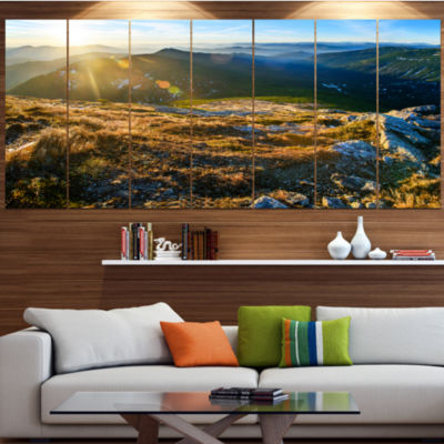 Designart Mountains Glowing In Sunlight LandscapeLarge Canvas Art Print - 5 Panels