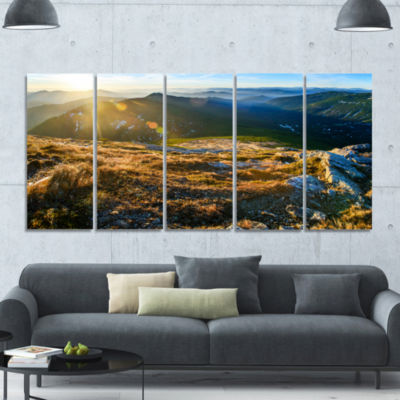Mountains Glowing In Sunlight Landscape Canvas ArtPrint - 5 Panels