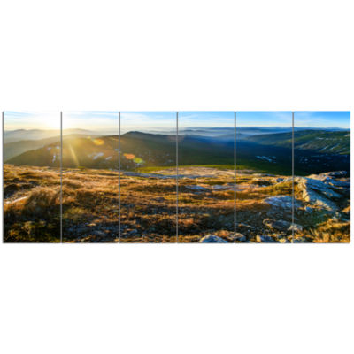 Mountains Glowing In Sunlight Landscape Canvas ArtPrint - 6 Panels
