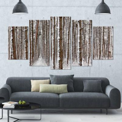 Designart Dense Pine Forest In Winter Landscape Large Canvas Art Print - 5 Panels