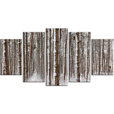 Designart Dense Pine Forest In Winter Landscape Large Canvas Art Print - 5 Panels