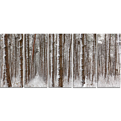 Designart Dense Pine Forest In Winter Landscape Canvas Art Print - 5 Panels