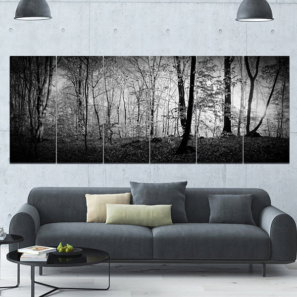 Design Art Beautiful Forest Morning Panorama Landscape Canvas Art Print - 6 Panels