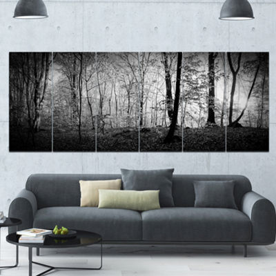 Designart Beautiful Forest Morning Panorama Landscape Canvas Art Print - 6 Panels