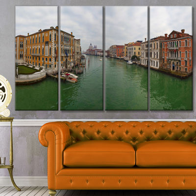 Designart Green Waters In Venice Grand Canal Landscape Canvas Art Print - 4 Panels