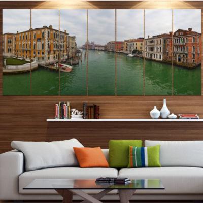 Design Art Green Waters In Venice Grand Canal Landscape LargeCanvas Art Print - 5 Panels