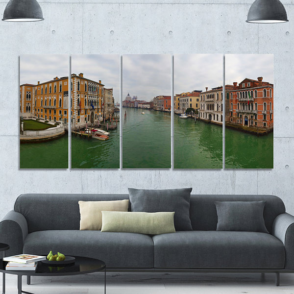 Designart Green Waters In Venice Grand Canal Landscape Canvas Art Print - 5 Panels