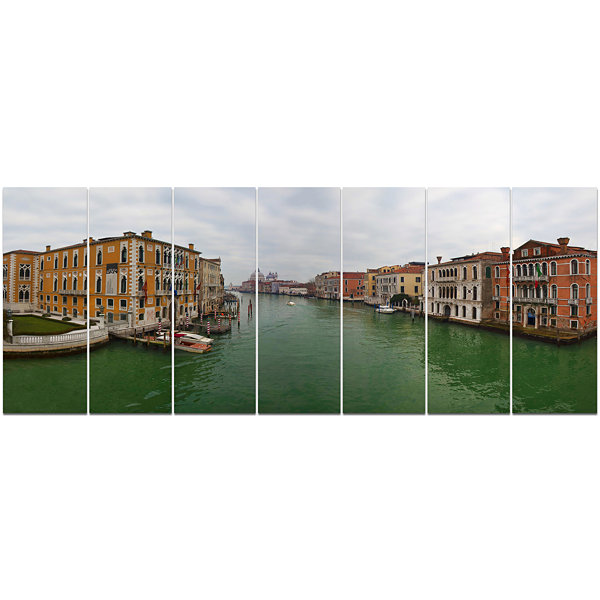 Design Art Green Waters In Venice Grand Canal Landscape Canvas Art Print - 7 Panels