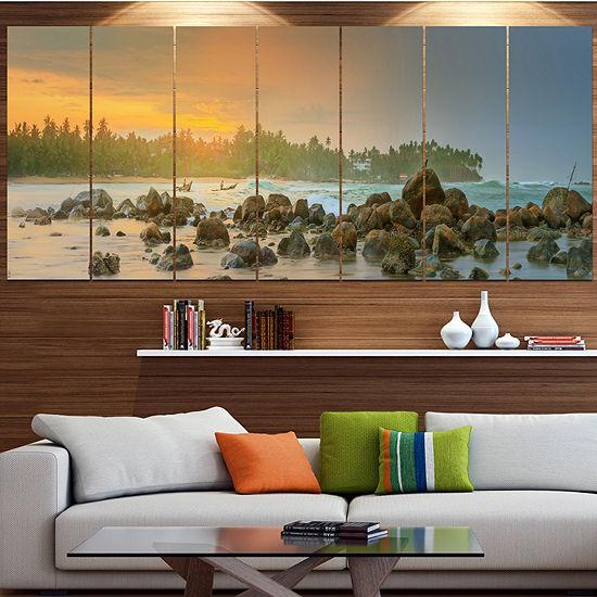 Designart Untouched Tropical Beach Panorama Landscape Canvas Art Print - 5 Panels