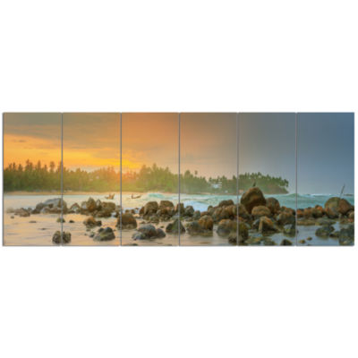 Untouched Tropical Beach Panorama Landscape CanvasArt Print - 6 Panels