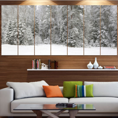 Foggy Winter Forest Panorama Landscape Canvas ArtPrint - 4 Panels
