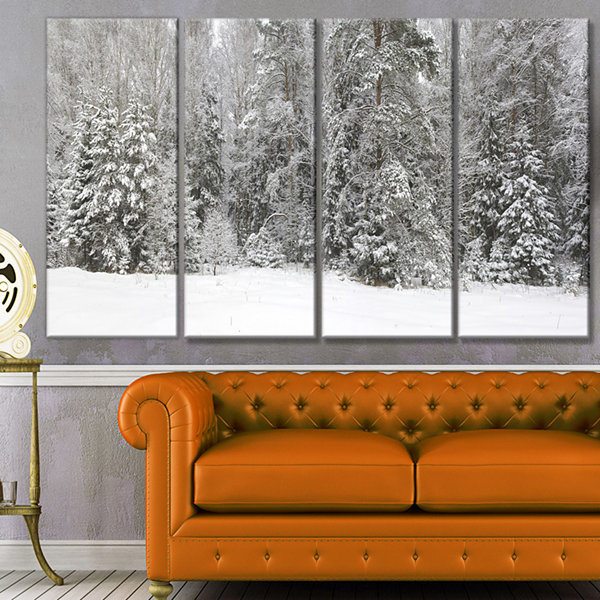 Designart Foggy Winter Forest Panorama LandscapeCanvas Art Print - 4 Panels
