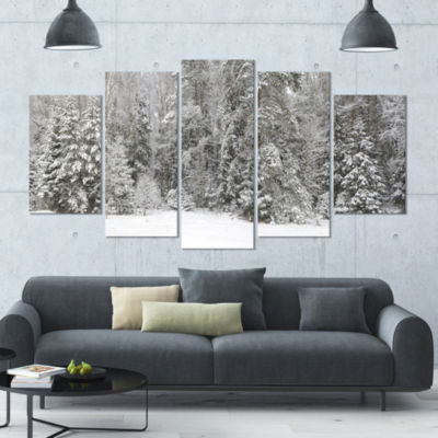 Foggy Winter Forest Panorama Landscape Large Canvas Art Print - 5 Panels