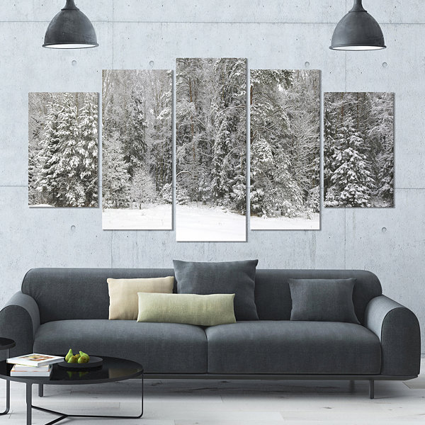 Design Art Foggy Winter Forest Panorama LandscapeLarge Canvas Art Print - 5 Panels