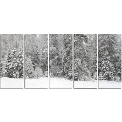 Foggy Winter Forest Panorama Landscape Canvas ArtPrint - 5 Panels