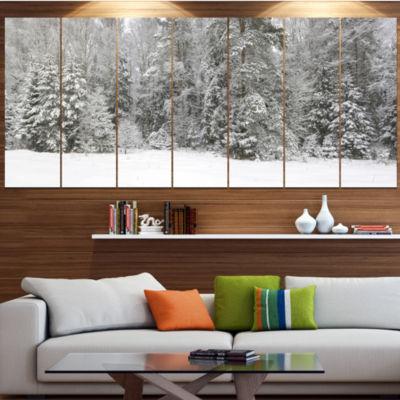 Designart Foggy Winter Forest Panorama LandscapeCanvas Art Print - 7 Panels