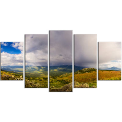 Stormy Sky With Clouds Panorama Landscape Large Canvas Art Print - 5 Panels