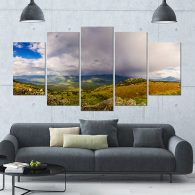 Designart Stormy Sky With Clouds Panorama Landscape Large Canvas Art Print - 5 Panels
