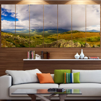 Designart Stormy Sky With Clouds Panorama Landscape Canvas Art Print - 6 Panels