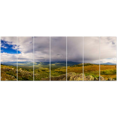 Designart Stormy Sky With Clouds Panorama Landscape Canvas Art Print - 7 Panels