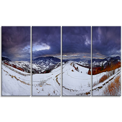 Designart Frosty Day In Mountains Panorama Landscape Canvas Art Print - 4 Panels
