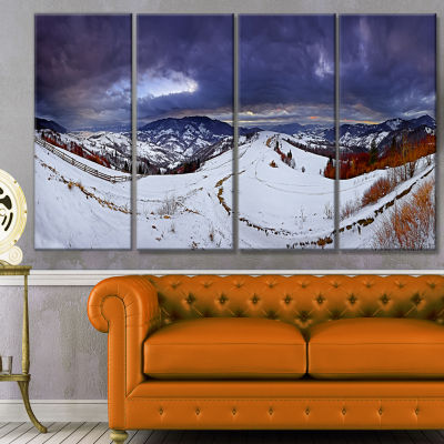Frosty Day In Mountains Panorama Landscape CanvasArt Print - 4 Panels