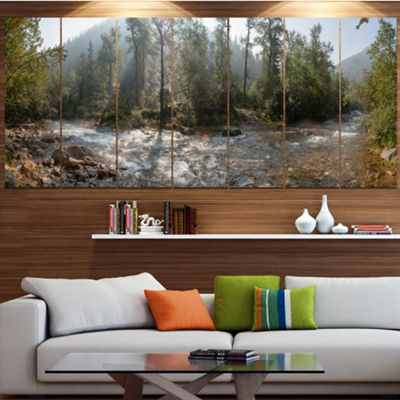 Designart Mountain River Panorama Landscape CanvasArt Print- 4 Panels