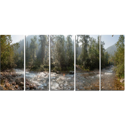 Designart Mountain River Panorama Landscape CanvasArt Print- 5 Panels