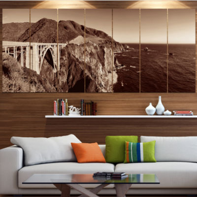 Designart Bixby Bridge View Panorama Landscape Canvas Art Print - 4 Panels