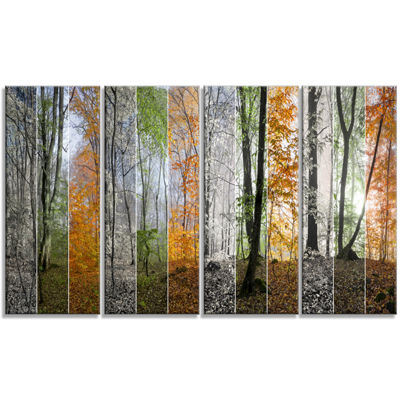 Designart Wood Panorama Changing Seasons LandscapeCanvas Art Print - 4 Panels