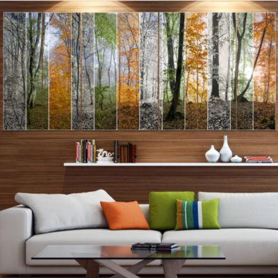 Designart Wood Panorama Changing Seasons LandscapeCanvas Art Print - 5 Panels