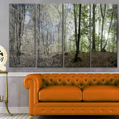 Designart Green Morning In Forest Panorama Landscape Canvas Art Print - 4 Panels