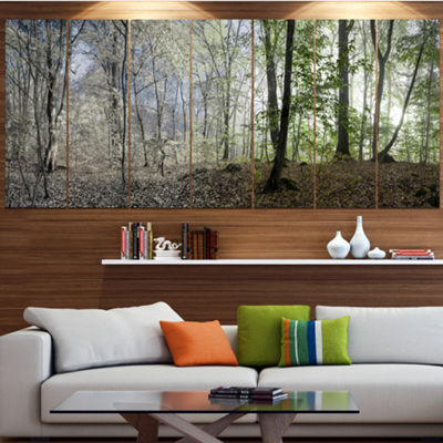 Designart Green Morning In Forest Panorama Landscape Large Canvas Art Print - 5 Panels