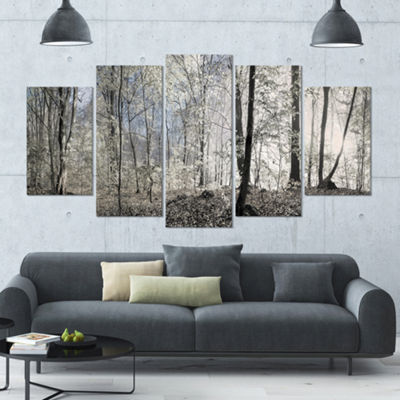 Designart Dark Morning In Forest Panorama Landscape Large Canvas Art Print - 5 Panels