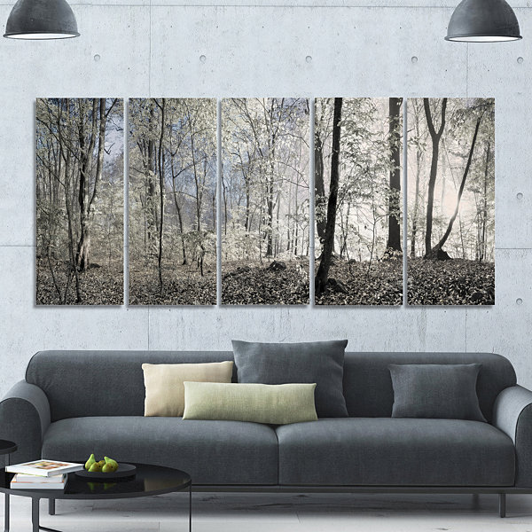 Design Art Dark Morning In Forest Panorama Landscape Canvas Art Print - 5 Panels