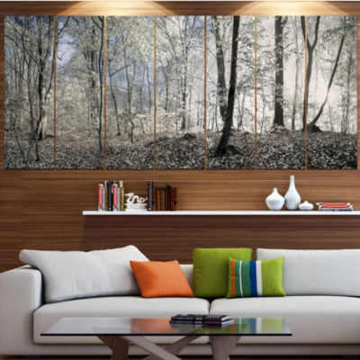 Dark Morning In Forest Panorama Landscape Canvas Art Print - 7 Panels