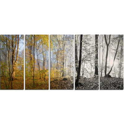 Designart Yellow Morning In Forest Panorama Landscape Canvas Art Print - 5 Panels