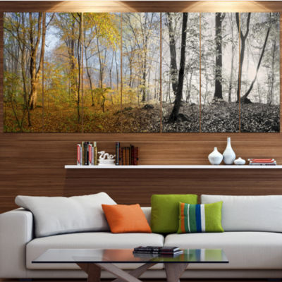 Design Art Yellow Morning In Forest Panorama Landscape Canvas Art Print - 5 Panels