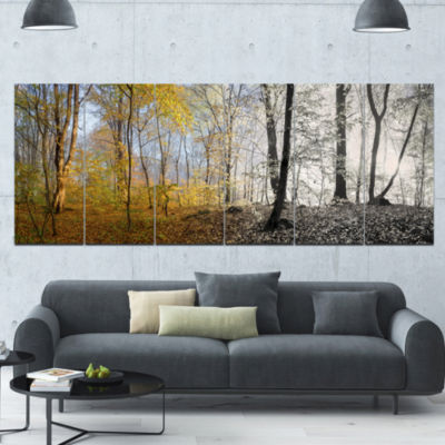 Yellow Morning In Forest Panorama Landscape CanvasArt Print - 6 Panels