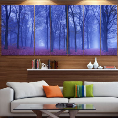 Two Paths In Foggy Blue Forest Landscape Canvas Art Print - 5 Panels