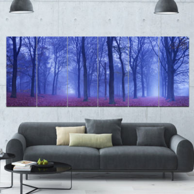 Two Paths In Foggy Blue Forest Landscape Canvas Art Print - 6 Panels