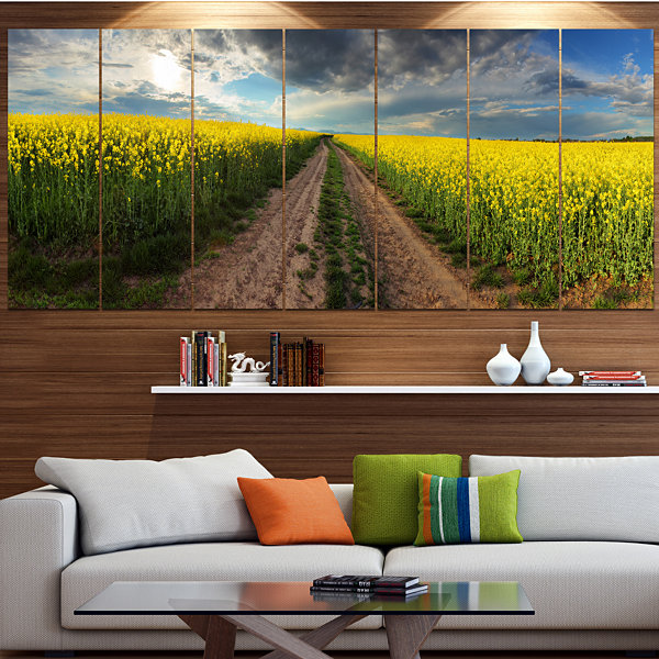 Designart Sunset Over Canola Panorama Landscape Large Canvas Art Print - 5 Panels