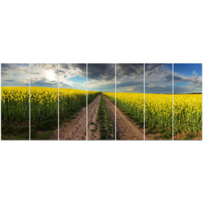 Sunset Over Canola Panorama Landscape Canvas Art Print - 7 Panels