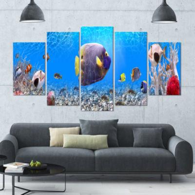 Designart Underwater Universe Panorama LandscapeCanvas Art Print - 4 Panels