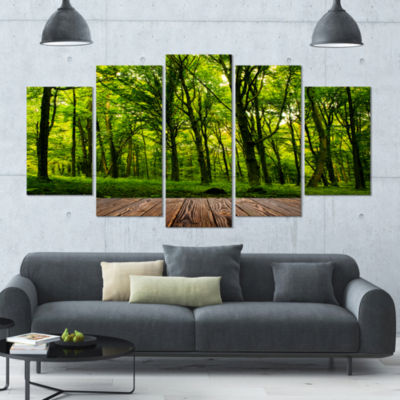 Green Forest With Dense Woods Large Landscape Canvas Art Print - 5 Panels