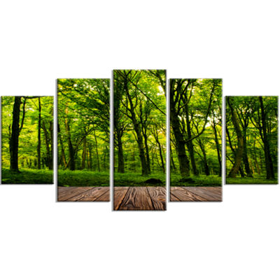 Designart Green Forest With Dense Woods Large Landscape Canvas Art Print - 5 Panels