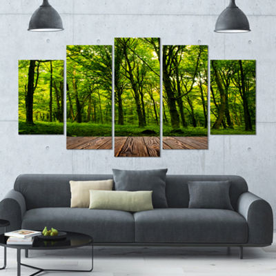 Designart Green Forest With Dense Woods LandscapeCanvas Art Print - 5 Panels